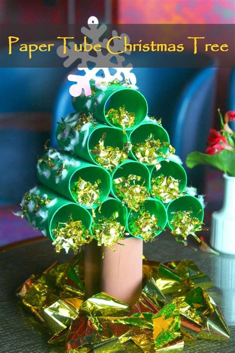 paper tube christmas tree easy kids craft tutorial