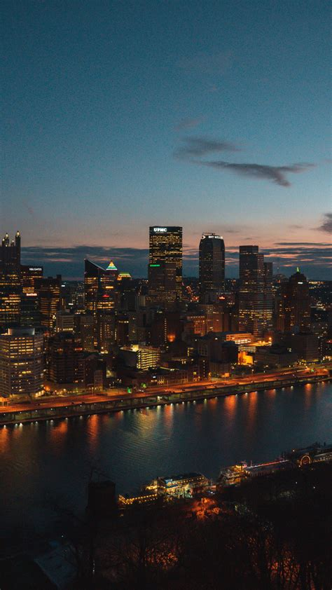Download wallpaper 2160x3840 night city, aerial view ...