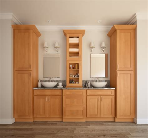 shaker honey pre assembled bathroom vanities  rta store