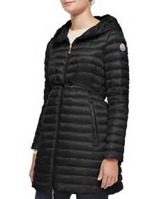moncler barbel hooded  fill knee length jacket black