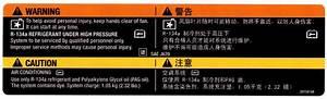 2009 A  C Warning Label Stickers English  U0026 Chinese Under