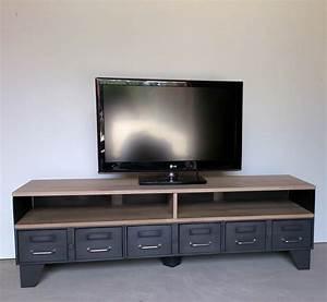 Meuble Bois Acier : meuble tv m tal industriel tiroirs et niche pour les appareils ~ Melissatoandfro.com Idées de Décoration
