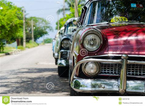 Classic Old Cars Parked Stock Photo