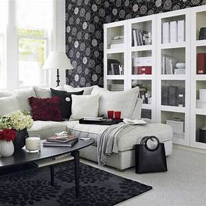 black and white living room design and ideas With black white and red living room decor