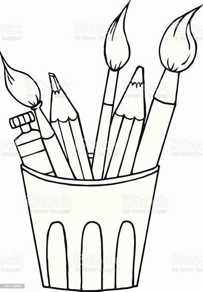 Tools Artist Craft Equipment Cartoon Pencil Single