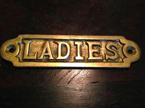 Antique Brass Ladies Room Sign Hardware Mount Vintage