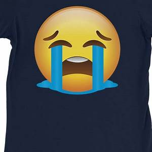 365 Printing Emoji Crying Womens Navy Sad Bad Mood