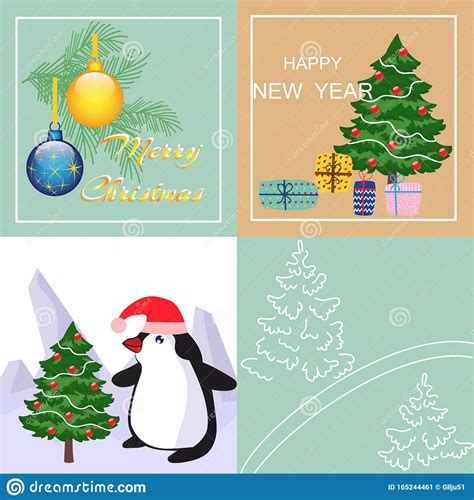 Vector Merry Christmas And Happy New Year Greeting Cards