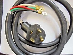 Electric Range Dryer 220v 4 Wire Power Cord 5 U0026 39  W Clamp 10  4 Black Pwr Cord 82035726483