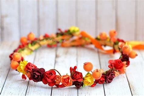 Country Wedding Decor Ideas by Autumn Flower Crown Hair Wreath Halo Floral Headpiece