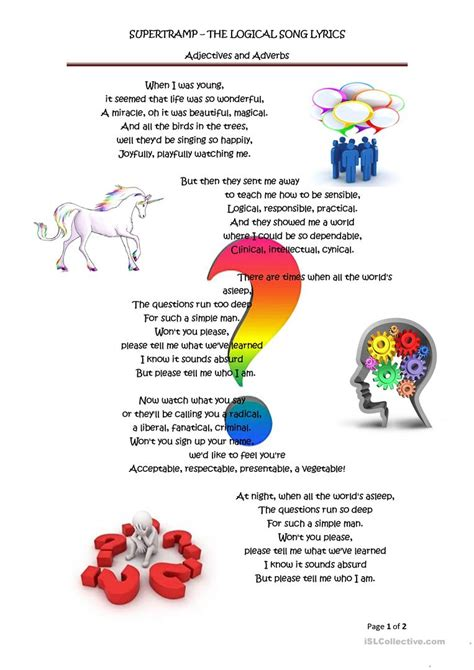 Adjectives And Adverbs The Logical Song Worksheet  Free Esl Printable Worksheets Made By Teachers