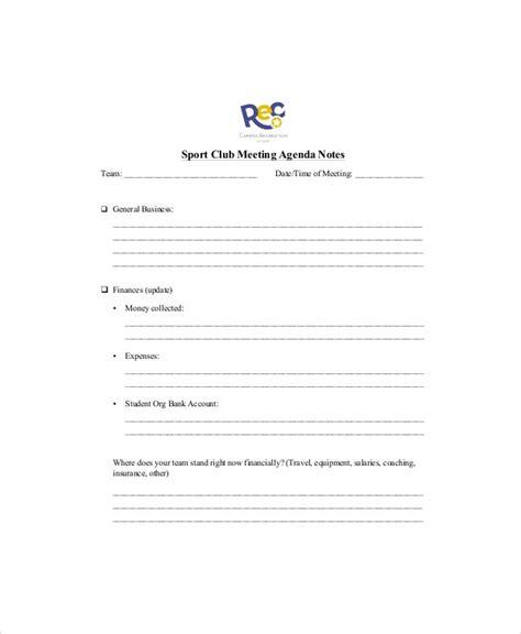club meeting agenda template   word  documents