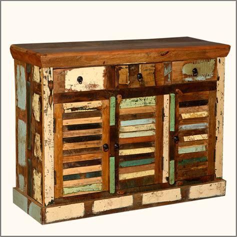 Rustic Credenza - rustic teak reclaimed wood distressed storage sideboard