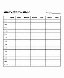 Weekly Activity Schedule Template 6 Free Word Pdf