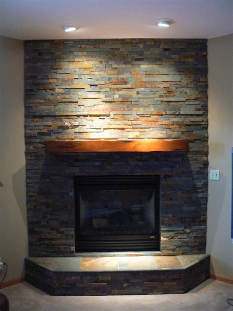 Slate Veneer Fireplace - this is the corner fireplace in the basement