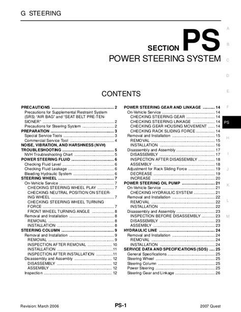 Nissan Quest Power Steering Repair Manual
