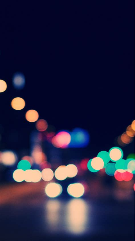 bokeh city street lights iphone  wallpaper iphone