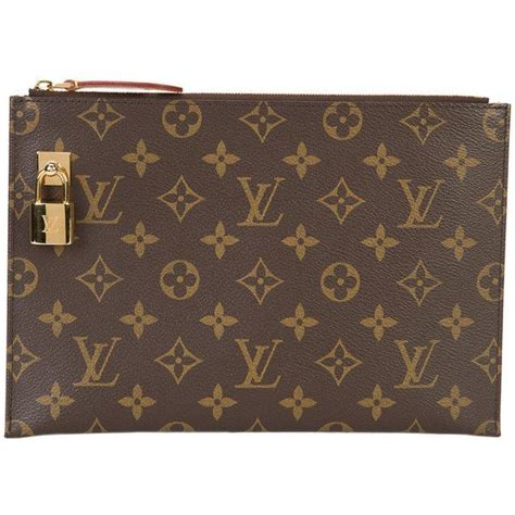 louis vuitton vintage lv lock clutch bag   polyvore featuring bags handbags clutches