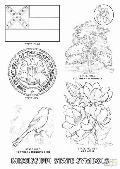 Coloring State Symbols Pages Mississippi Alabama Printable