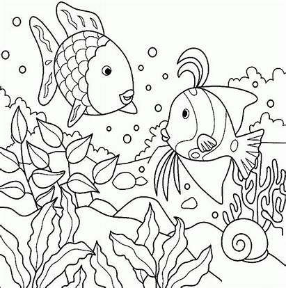 Coloring Fish Under Sea Pages Printable Rainbow
