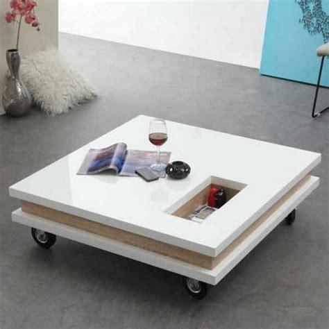 table basse carr 233 e 100 cm roulettes plateaux epais
