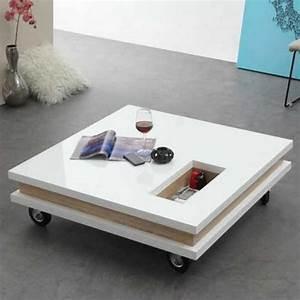Table Carrée Blanche : table basse carr e 100 cm roulettes plateaux epais ~ Teatrodelosmanantiales.com Idées de Décoration