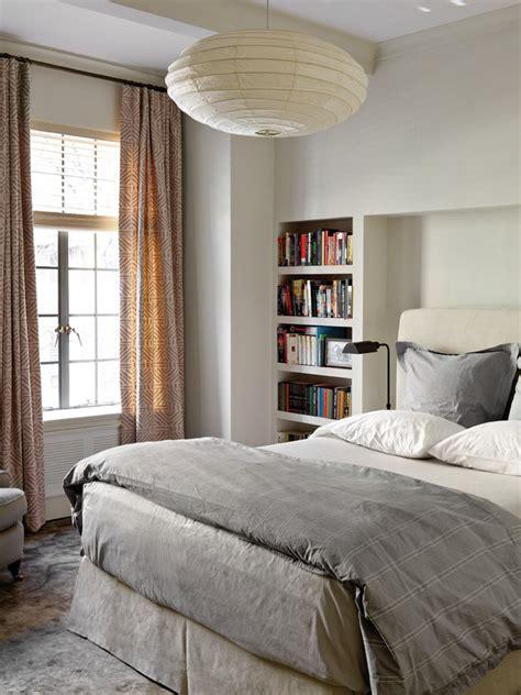 contemporary bedroom  built  bookshelf  paper