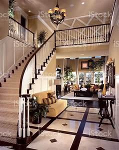 Luxury, Stair, Entry, Interior, Design, Home, Stock, Photo