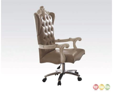 white tufted office chair versailles bone white leather tufted lift and swivel