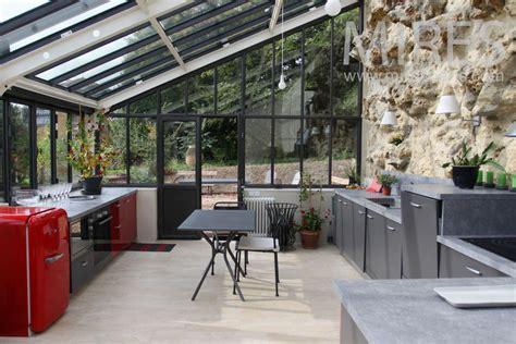 bureau contemporain bois grande cuisine salle à manger sous la véranda c0775