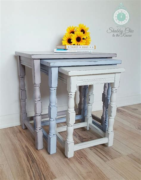 shabby chic now now sold shabby chic upcycled painted nest of tables in annie sloan chalk paint paloma louise