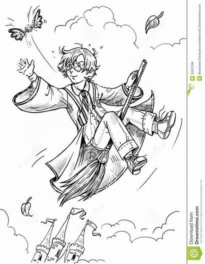 Wizard Drawing Boy Graphic Flying Broom Coloring