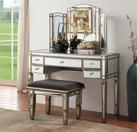 rochelle mirrored dressing table 5 drawers modern day