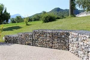 mur galet armature metal collot piscine paysage With mur de galet exterieur
