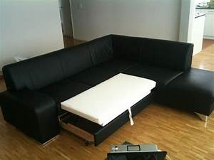 L shaped black leather bed sofa zurich english forum for L shaped leather sofa bed