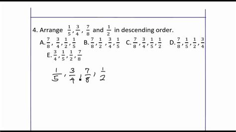 arrange fractions  descending order youtube