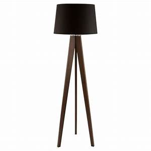 Buy tesco lighting tripod wooden floor lamp dark wood for Lighting tripod wooden floor lamp dark wood black shade