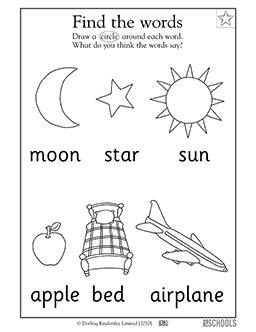 Free printable Kindergarten reading Worksheets, word lists