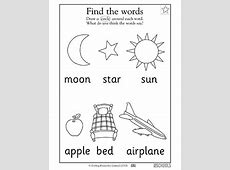 Free printable Preschool Worksheets, word lists and