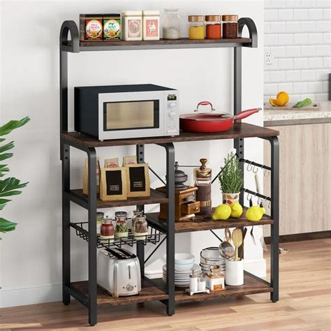 The wooden tables high cafe bar ( π style) is available in all sizes and in many colors. Kitchen Baker's Rack Microwave Oven Stand, Kitchen Cart Storage Shelf Coffee Bar with 6 Hooks ...