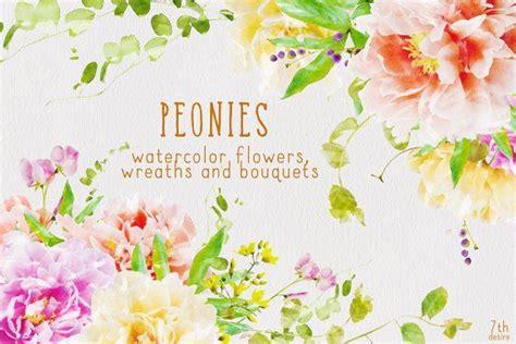 watercolor flowers clipart peonies wedding invitation