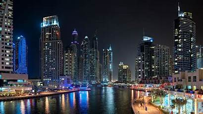 Dubai Night Marina Lake Club Water Landscape