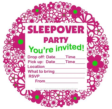 Cute flowery sleepover invitation free to save and print