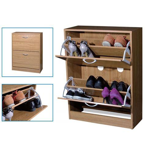 shoe storage unit 2 drawer shoe storage cabinet cupboard wooden furniture 2198