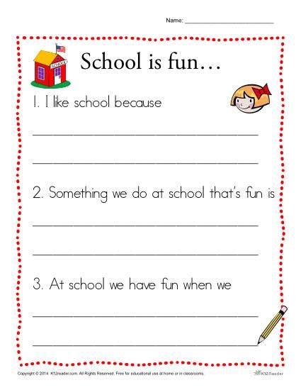 school is writing prompt for kindergarten students