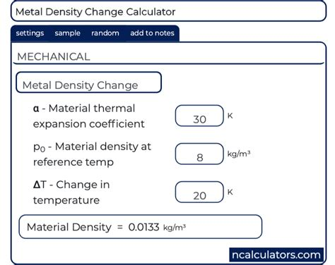 metal density change calculator