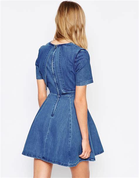 viara denim dress lyst asos denim crop top skater dress in blue