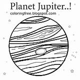 Coloring Planet Jupiter Space Drawing Printable System Solar Children Easy Education Earth Cartoon Hundreds Younger Render Fun sketch template
