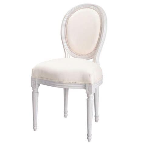 chaise medaillon en coton ivoire  bois blanc louis maisons du monde