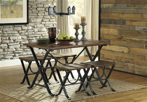 Industrial Style Rectangular Dining Room Table Set By